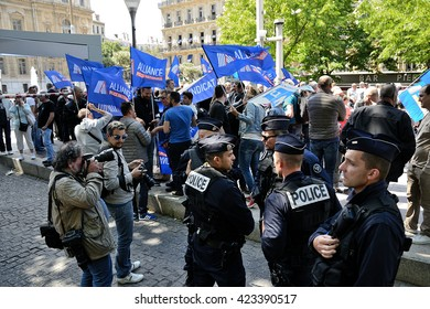 Marseille, France - May 18, 2016 : At the call of Alliance union, about 300 police officers participated in a rally to demand the right to ensure their mission with more respect