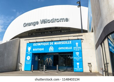 Marseille, France - May 18, 2018: The Orange Velodrome stadium is the emblematic stadium of the Olympique de Marseille football club and the second in France in terms of capacity with 67 394 places.