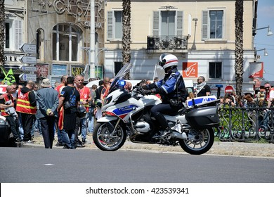 Marseille, France - May 19, 2016 : French policeman on his motorcycle pictured during a demonstration