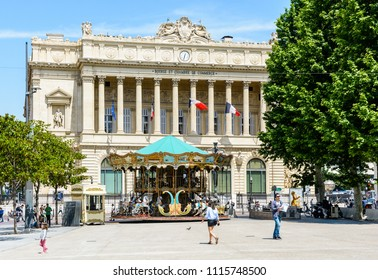 Marseille, France - May 23, 2018: The Palais de la Bourse, located on the Canebiere in Belsunce district, is the headquarters of the Chamber of Commerce and Industry and houses the Marine Museum.