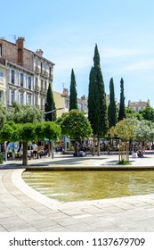 Marseille, France - May 23, 2018: The cours Julien, a large pedestrian square, very popular with Marseille young people, with water basins, bars and restaurants with terrace.