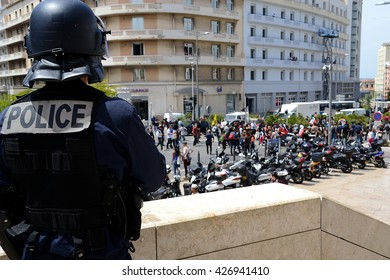 Marseille, France - May 26, 2016 : French policemen are monitoring the demonstrators during an illegal demonstration