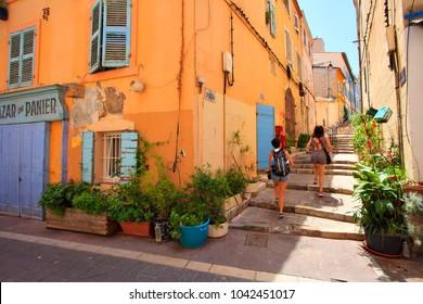 Marseille, France - May 8 2017 : Le panier, rue des moulins