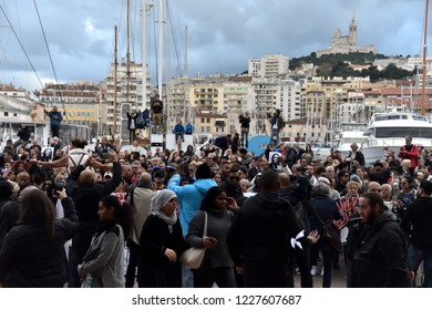 "Marseille, France - November 10, 2018 : A march was organized in the city to pay tribute to the eight victims of the collapse of the ""rue d'Aubagne"""