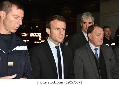 Marseille, France - November 22, 2016 : Former French Economy Minister and candidate for next year's presidential election, Emmanuel Macron