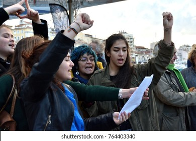 Marseille, France - November 25, 2017 : World Day to Combat Violence Against Women