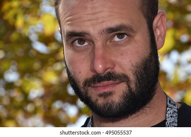 Marseille, France - October 06, 2016 : French cartoonist Olivier Ganan at the 5th edition of the International festival of press and political cartoons at l'Estaque.