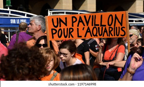 Marseille, France - October 06, 2018 : Demonstration in support to the Aquarius, an NGO boat dedicated to the rescue of migrants at sea