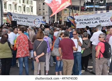 Marseille, France - October 12, 2016 : Rally for the International Day of Peace