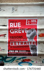 MARSEILLE, FRANCE, OCTOBER 13, 2013:  The New Anticapitalist Party poster; Nouveau parti anticapitaliste, NPA, France