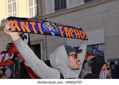 Marseille, France - October 13, 2016 : Demonstration against the fascist