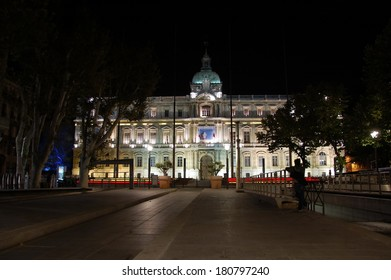 MARSEILLE, FRANCE, OCTOBER 14, 2013: Night view of the building of the Prefecture of Marseilles