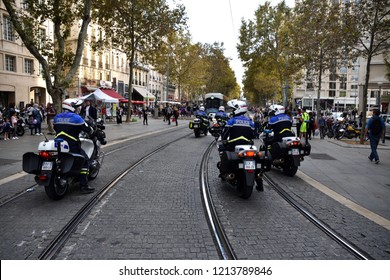 Marseille, France - October 20, 2018 : French policemen on motorcycle photographed during a demonstration