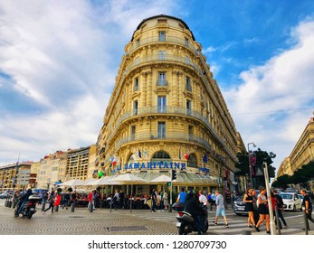 Marseille France - October 26,2018: La Samaritane brasserie, Marseille one of the last of the old-style brasseries on the Old Vieux-Port Of Marseille