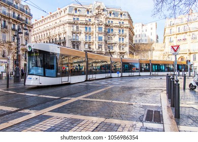MARSEILLE, FRANCE, on March 2, 2018. The modern high-speed tram goes on the city street in the downtown