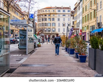 MARSEILLE, FRANCE, on March 2, 2018. Buildings of traditional architecture make an attractive architectural complex of the street in a historical part of the city