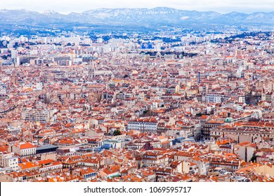 MARSEILLE, FRANCE, on March 2, 2018. A picturesque panoramic view of the city from the survey platform of cathedral Notre-Dame de la Garde