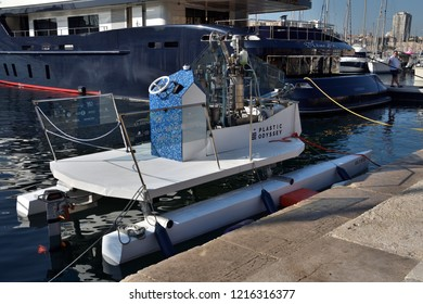 """Marseille, France - September 20, 2018 : """"Plastic Odyssey"""" demonstrator ship, dubbed """"Ulysse"""" is a 6 meter catamaran. It is the first ship in the world powered by plastic waste"""