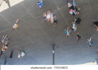 MARSEILLE, FRANCE - September, 2014: people enjoy Norman Foster's pavilion with mirrored ceiling in Marseille, France