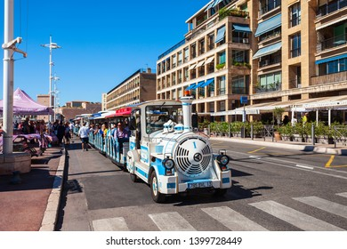 MARSEILLE, FRANCE - SEPTEMBER 23, 2018: The Little Trains of Marseille or Les Petits Trains  is a small tourist train in Marseille city in France