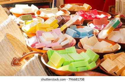 MARSEILLE, FRANCE - SEPTEMBER 27, 2017: Marseille soap - handmade natural soap with organic oils of flowers like lavender or olives. Marseille,France.