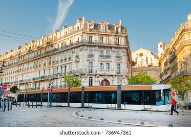 MARSEILLE, FRANCE-   September 28, 2017: modern tramway in the street. Tramway is very popular transport  in Marseille,France.