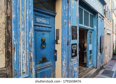 Marseille, France - September 29, 2019: Souvenir shop painted blue in the old part of Marseille, France on September 29, 2019