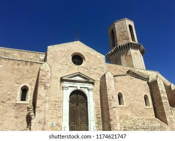 Marseille, France/August 2018: Église Saint-Laurent de Marseille, an old roman church, near the port of Marseille on a sunny afternoon with a clear blue sky in Marseille on August 30, 2018.
