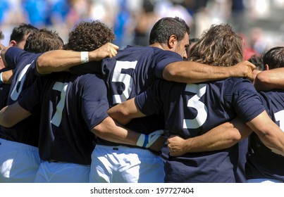 MARSEILLE, FRANCE-SEPTEMBER 08, 2007: italian rugby players embracing before the rugby match Italy vs New Zealand, during the Rugby World Cup of France 2007, in Marseille.