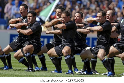 MARSEILLE, FRANCE-SEPTEMBER 08, 2007: new zealand rugby team players playing the maori haka dance, before the rugby match Italy vs New Zealand, during the Rugby World Cup of France 2007, in Marseille.
