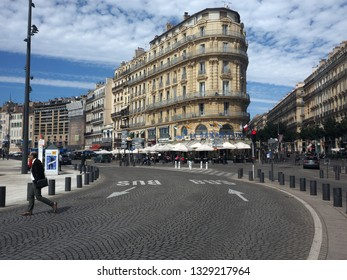 MARSEILLE, FRANCE-SEPTEMBER: Beautiful architecture is seen with La Samaritaine brasserie restaurant on main street of port city of Marseille, France in September 2017.