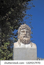 MARSEILLE, FRANCE-SEPTEMBER: A statue bust of Euthymenes of Massalia the Greek explorer from Marseille is seen in Marseille, France, Europe in September 2018.