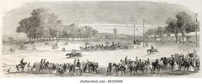 Marseille horse racing old illustration. Created by Godefroy-Durand after Crapelet, published on L'Illustration, Journal Universel, Paris, 1860