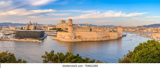 Marseille panorama city skyline at harbour, Marseille, France