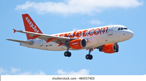 MARSEILLE PROVENCE AIRPORT, FRANCE - JULY 13, 2016: EasyJet operated Airbus A319-111 (G-EZBK) on approach to land at Marseille Provence Airport, France.
