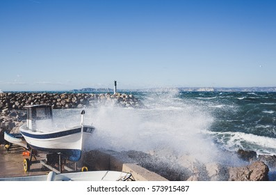 Marseille storm of Mistral on fishing harbor