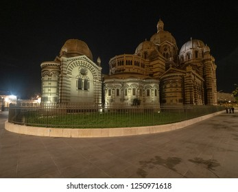 Marseille/France - November 17 2018: Marseille Cathedral at night. Marseille Cathedral (French: Cathédrale de la Major) is a Roman Catholic cathedral, and a national monument of France.