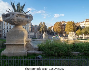 Marseille/France - November 18 2018: The courtyard of Palais Longchamp, Marseille, France. The Palais Longchamp is a monument in the 4th arrondissement of Marseille, France.