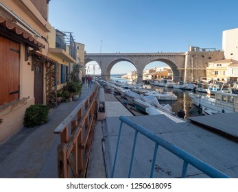 Marseille/France - November 18 2018: Houses at Vallon des Auffes. This is a little traditional fishing haven in Marseille in the 7th arrondissement of Marseille.