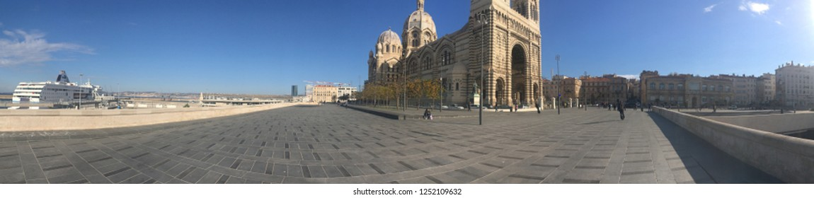 Marseille/France - November 18 2018: Marseille Cathedral panorama. Marseille Cathedral (French: Cathédrale de la Major) is a Roman Catholic cathedral, and a national monument of France.