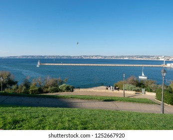 Marseille/France - November 18 2018: Mediterranean sea seen from Palais du Pharo. The Palais du Pharo is a palace in Marseille, France. It was built in 1858 by Napoleon III for Eugénie de Montijo.
