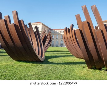 Marseille/France - November 18 2018: Modern art on Palais du Pharo garden. The Palais du Pharo is a palace in Marseille, France. It was built in 1858 by Napoleon III for Eugénie de Montijo.