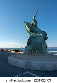 Marseille/France - November 18 2018: The Monument for the Heroes and Victims of the Sea in the courtyard of Palais du Pharo.