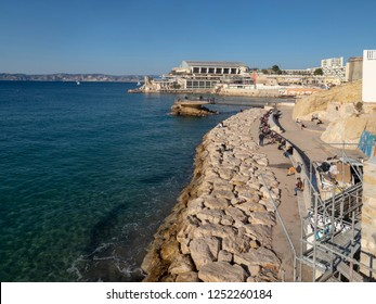 Marseille/France - November 18 2018: Plage des Catalans beach in Marseille. It is named after the Catalans which came here in XVII century.