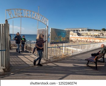Marseille/France - November 18 2018: Plage des Catalans beach entrance in Marseille. It is named after the Catalans which came here in XVII century.