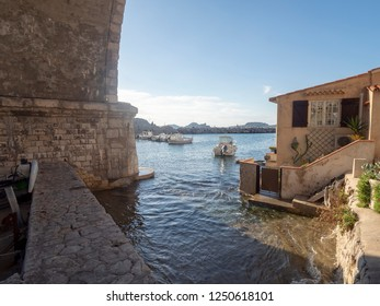 Marseille/France - November 18 2018: Vallon des Auffes. This is a little traditional fishing haven in Marseille in the 7th arrondissement of Marseille.