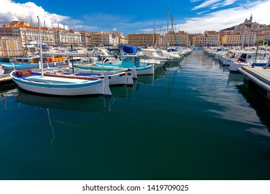 Marseilles. Fishing boats near the pier in the old port.