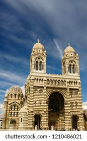 Marseilles, France - 2018. Marseille cathedral, Cathedrale Sainte-Marie-Majeure de Marseille, one of the largest cathedral in France, Byzantine-Roman style catholic church, located near old port of Ma
