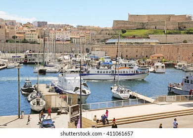 MARSEILLES, FRANCE - APRIL 23, 2016: Aerial view of the Old Port. Marseille is the second largest city in France after Paris and the center of the third largest metropolitan area
