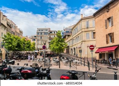 MARSEILLES, FRANCE - JUNE 21, 2016: Marseilles cityscape - capital of Bouches-du-Rhone department and Provence-Alpes-Cote d'Azur region. Marseille is country's second largest city, after Paris.